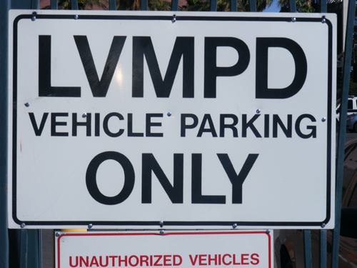 LVMPD Vehicle Parking Only Sign at the City of Las Vegas Jail